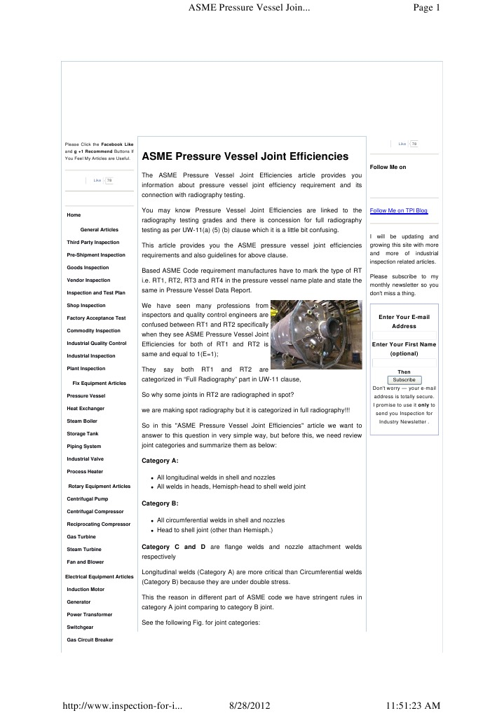 Asme Pressure Vessel Joi | Welding | Gas Compressor