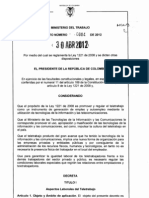 Decreto 0884 2012 Se Reglamenta Ley 1221 de 2008 y Otras Disposiciones