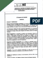 Ley 1562 2012 Sistema de Riesgos Laborales y Salud Ocupacional