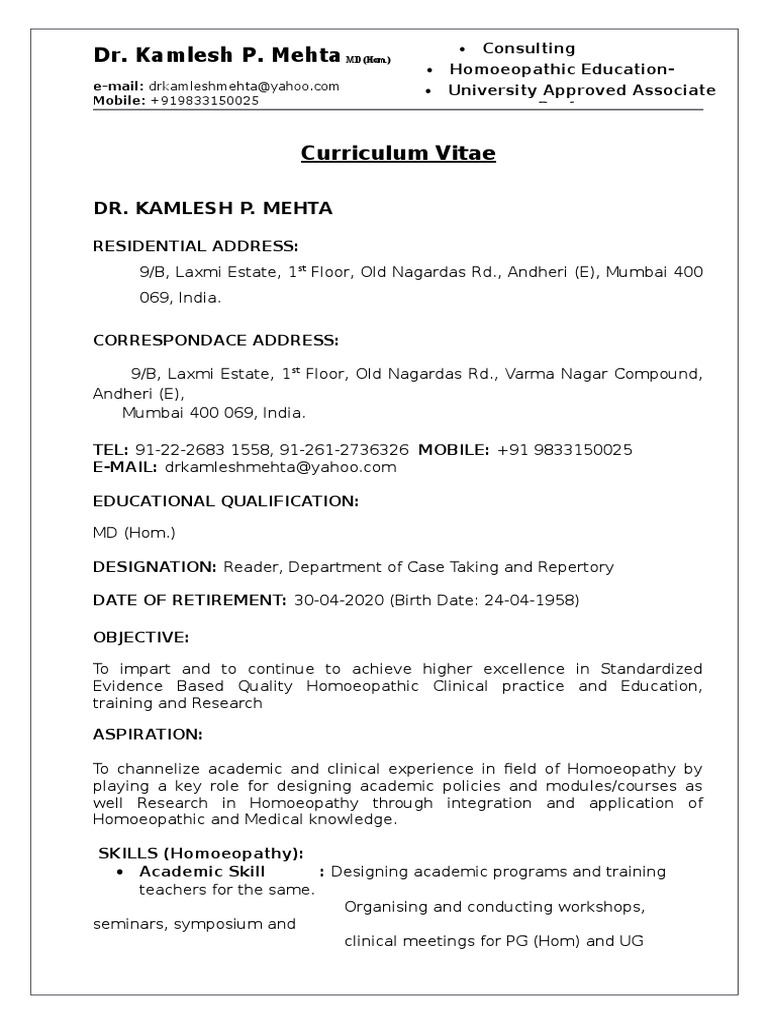 Resume Dr Kamlesh P Mehta Md Hom 2016 Homeopathy Doctor
