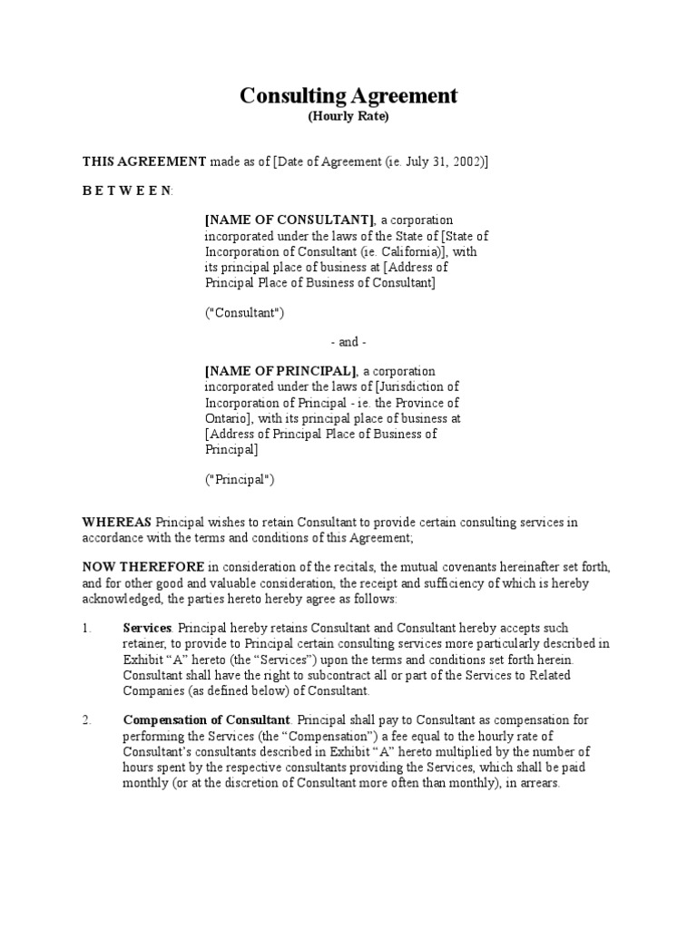 Consulting Agreement Hourly Damages Law Of Agency