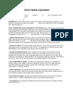 Stock Option Agreement (Corporation to Optionee)
