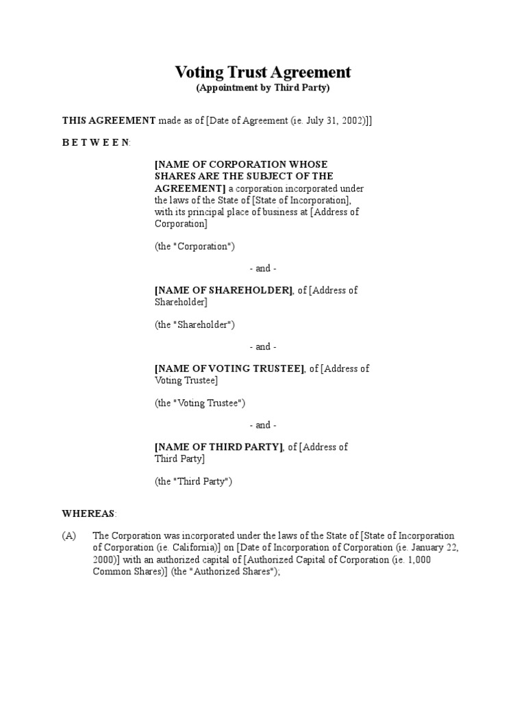 Voting Trust Agreement Appointment By Third Party Corporations