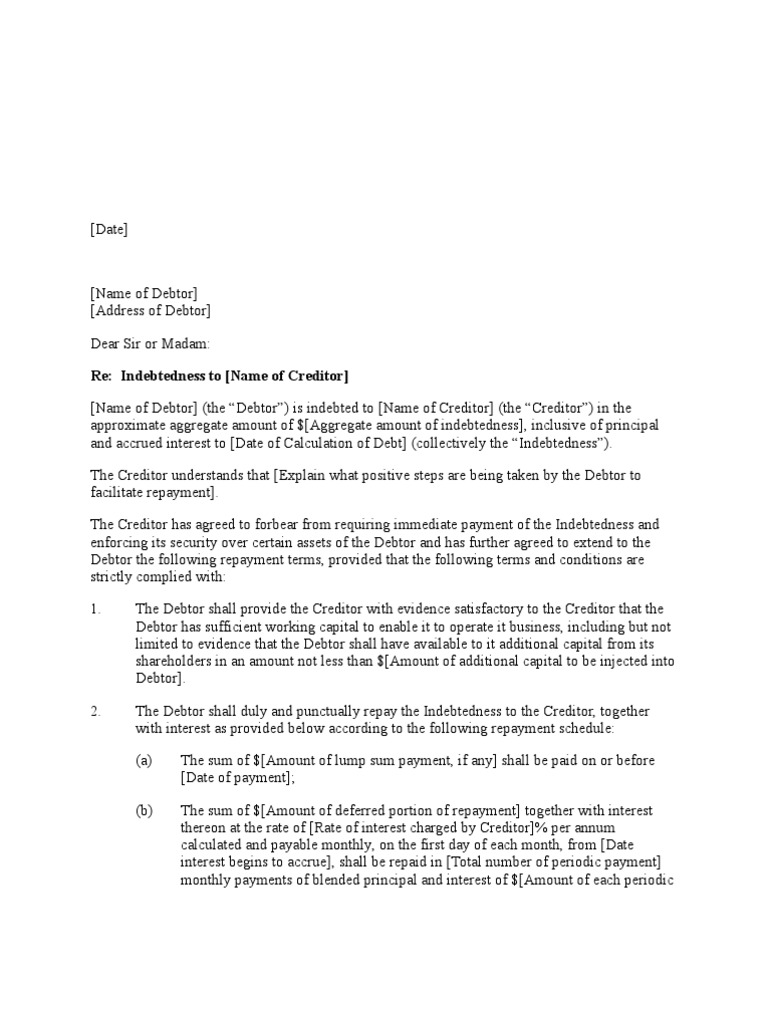 Forbearance Agreement Letter Format Debtor Debt