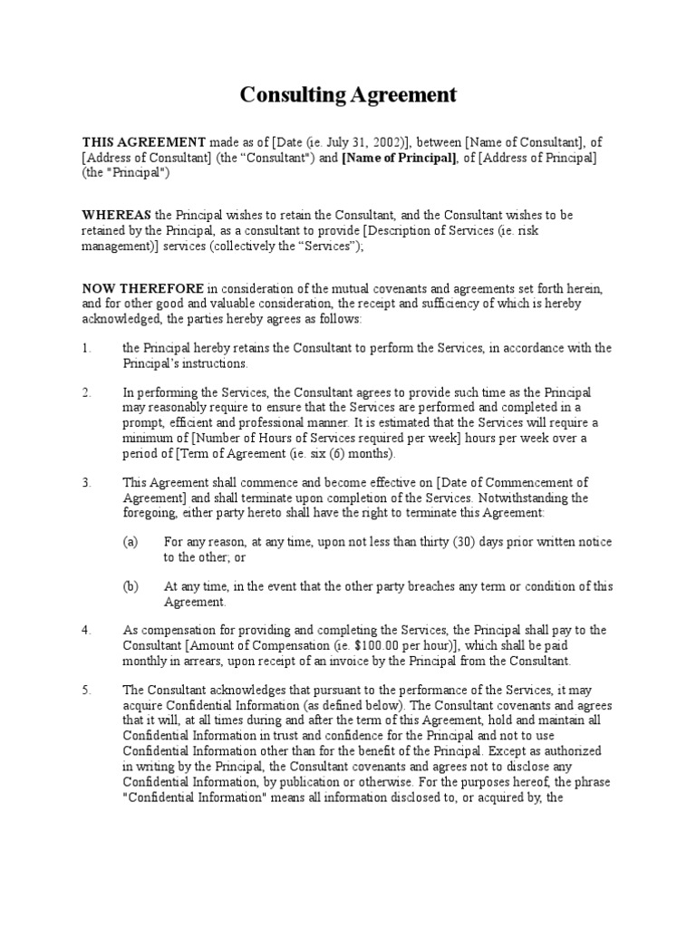 Consulting Agreement Short Form Confidentiality – Consulting Agreement