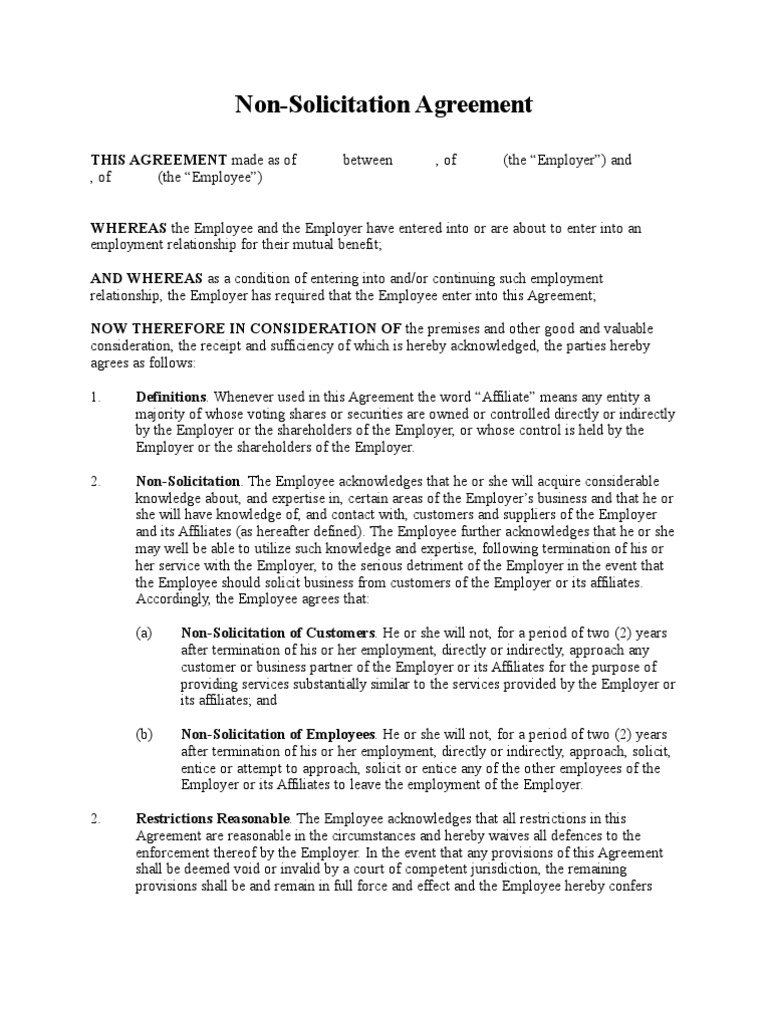 Non Solicitation Of Customers And Employees Agreement Contractual