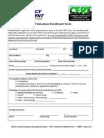 CERT Volunteer Enrollment Form