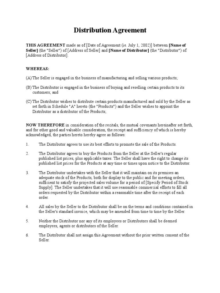 Distribution agreement short form list price sales platinumwayz