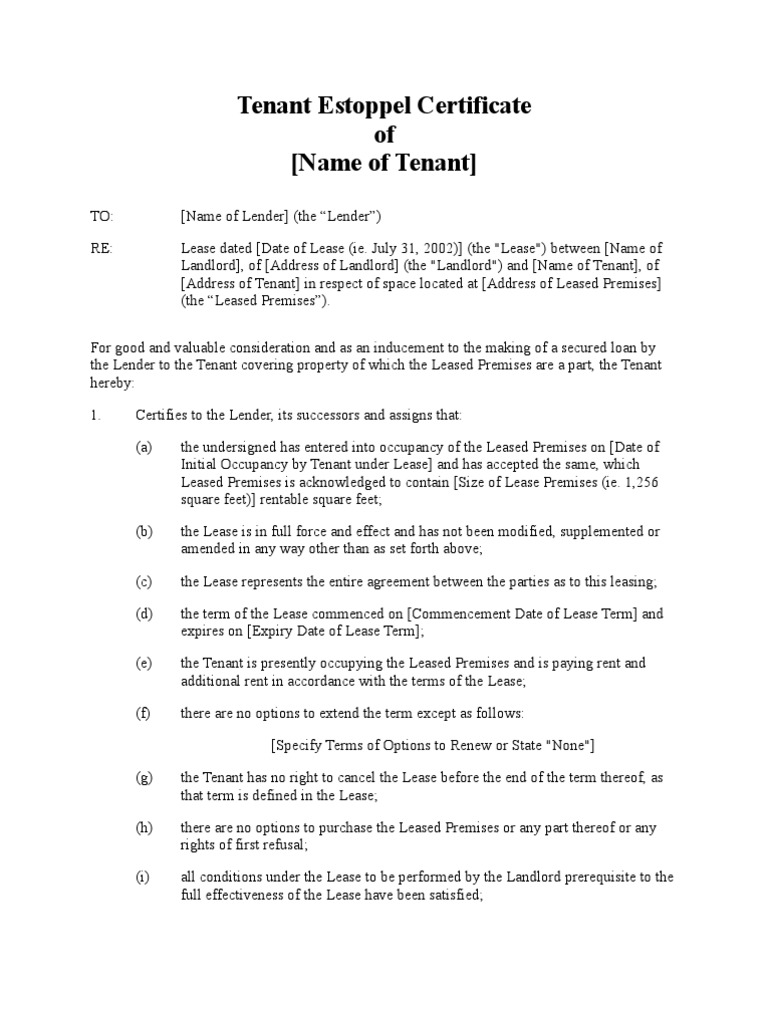 Tenant Estoppel Certificate Lease Leasehold Estate