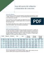 Características del acero de refuerzo para uso en elementos de concreto reforzado
