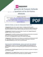Les 20 engagements de François Hollande pour les quartiers et les territoires délaissés