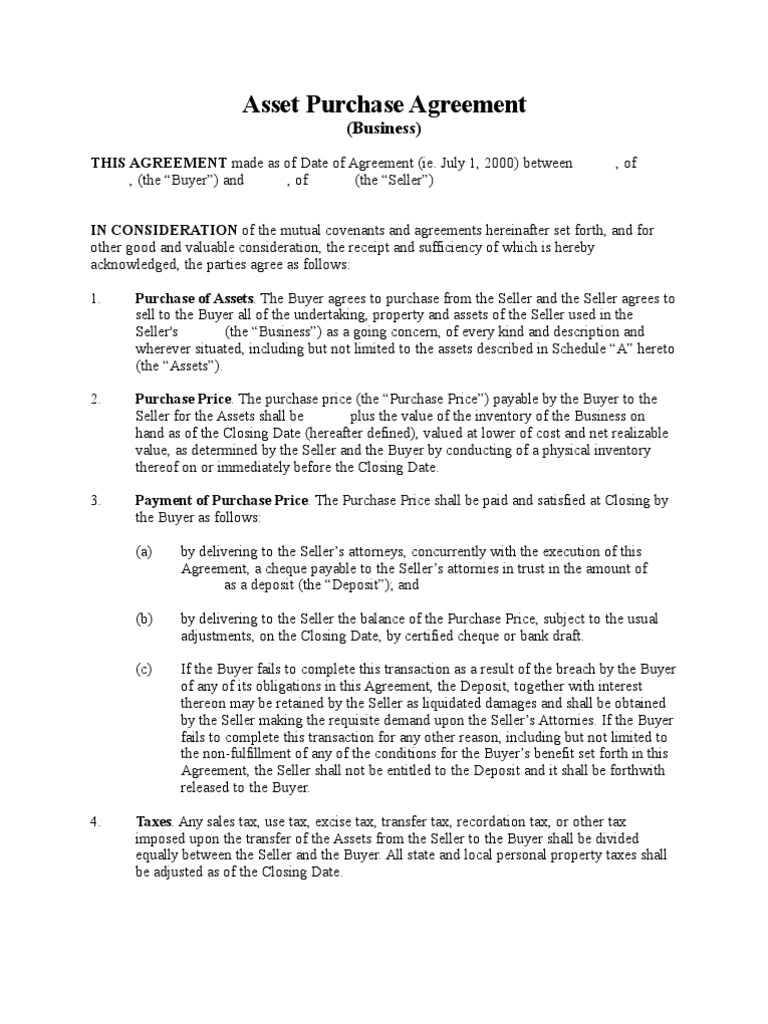 Asset Purchase Agreement (Business   Long Form)   Taxes   Sales