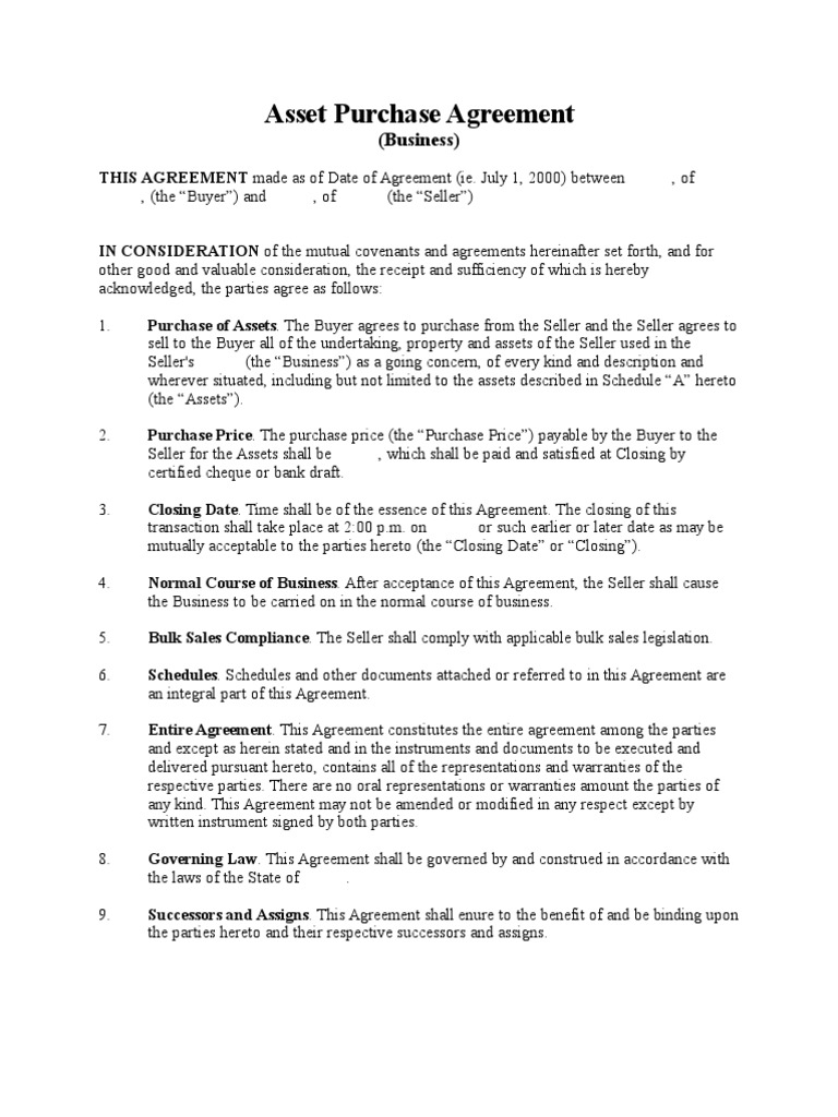 Asset Purchase Agreement (Business   Short Form)