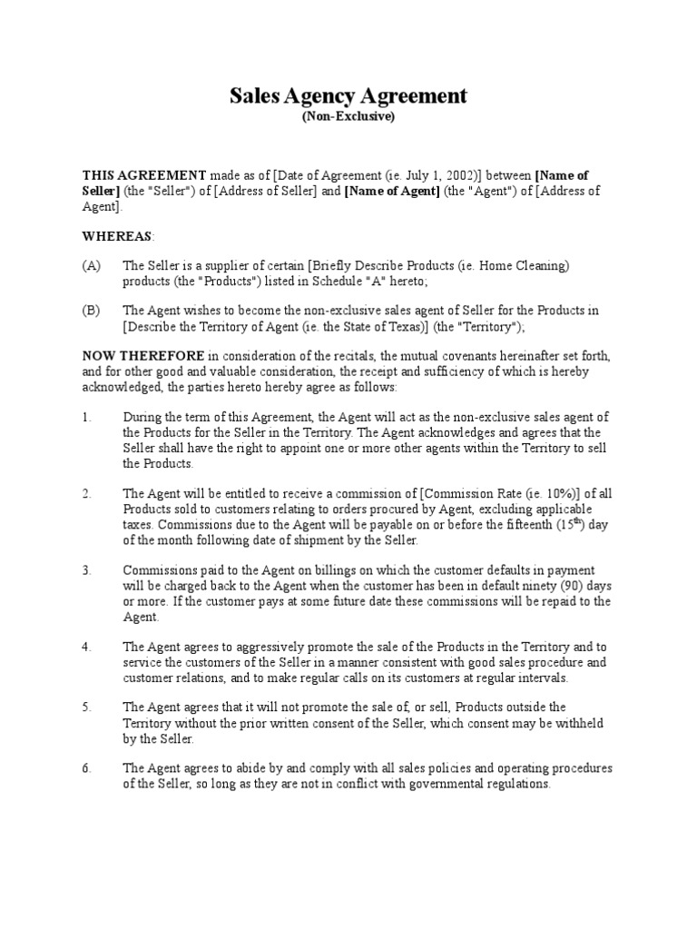 Sales Agency Agreement Non Exclusive Law Of Agency Sales