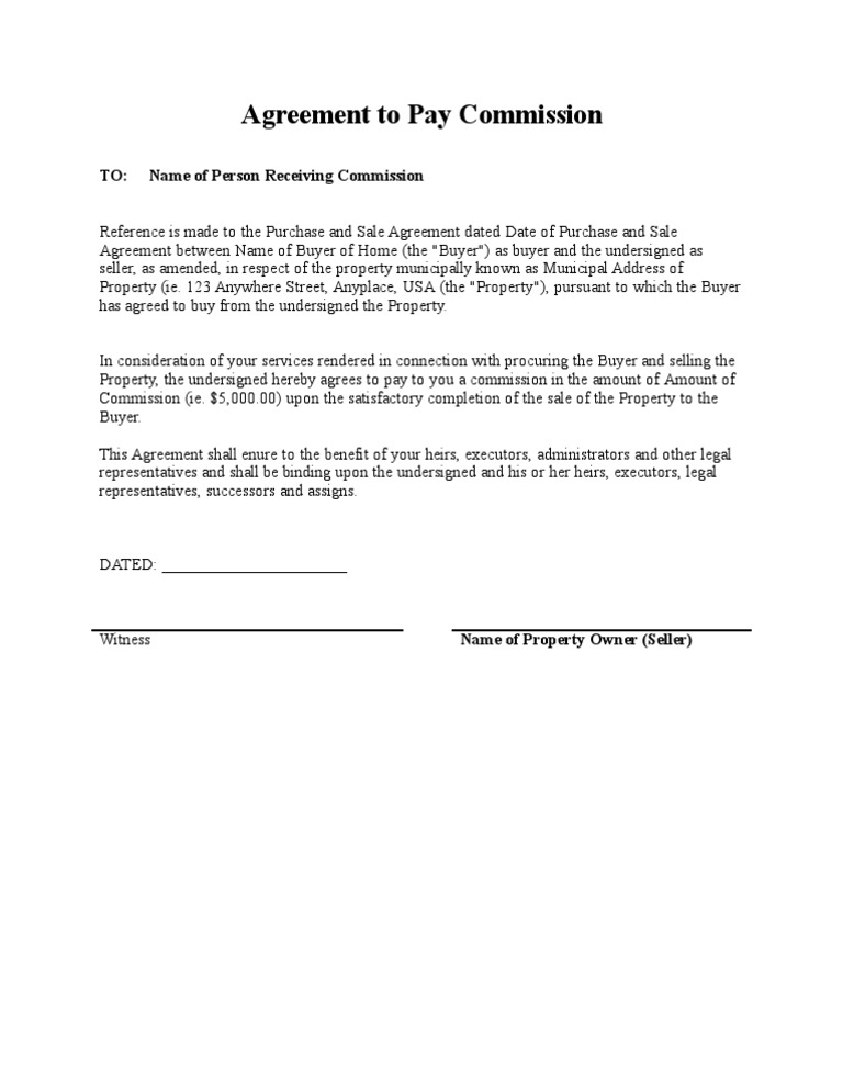 commission sharing agreement template - agreement to pay commission