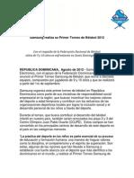 Nota de Prensa Torneo Samsung de Beisbol 2012