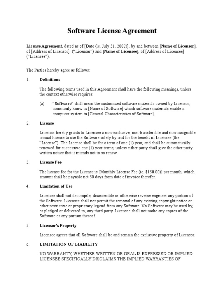 Software License Agreement Simple Form License Business Law