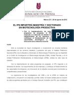 C-215 EL IPN IMPARTIRÁ MAESTRÍA Y DOCTORADO EN BIOTECNOLOGÍA REPRODUCTIVA
