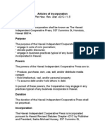 Hawaii Independent Articles of Incorporation