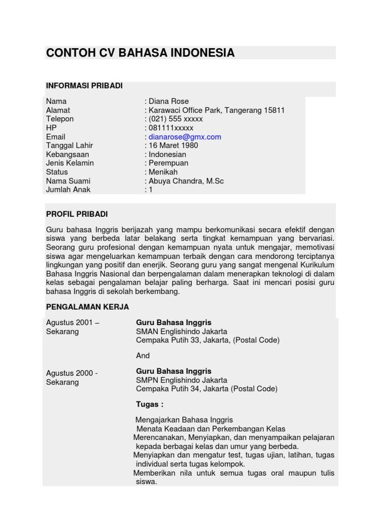 Contoh Cv Bahasa Indonesia