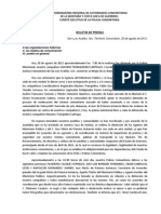Boletin Prensa - Cordinadora Regional de Autoridades Comunitarias - Policia Comunitaria