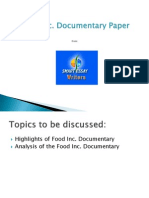 Food Inc Documentary Paper