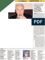"""Frontino premia il """"ragazzo"""" Zavoli e la manager Tiziana Primori - Il Resto del Carlino del 28 agosto 2012"""