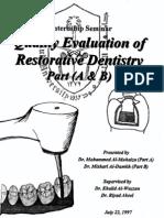Quality Evaluation of Restorative Dentistry