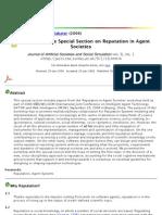 Reputation in Agent Societies