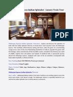 Maharaja Express Indian Splendor Itinerary
