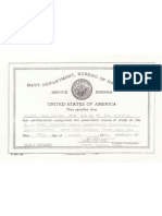 Navy Training School Certificate
