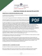 Compte-rendu du Conseil des ministres du 29 août 2012