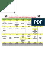 Horaris Entrenaments Temporada 2012