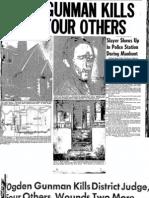 Ogden Gunman Kills Judge and Four Others 1943-07-24 Salt Lake Telegram Page 1