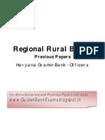 Regional Rural Banks Previous Papers - Haryana Gramin Bank Officers
