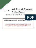 Regional Rural Banks Previous Papers - Gurgaon Gramin Bank