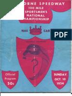 Langhorne Speedway, October 10 1954 Nascar Race Program...