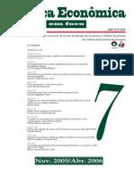 Política Econômica em Foco, número 7 2005-2006, sobre governo lula