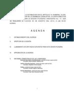 Agenda Sesión Plenaria, jueves 30 de Agosto.
