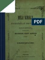 Beleházi Bartal György - Béla Király halhatatlan jegyzőjének hajdani szittyáiról, főtekintettel makedón Nagy Sándor korára1864.