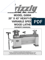 Grizzly Hevy Duty Wood Lathe manual
