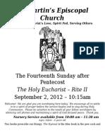 St. Martin's Episcopal Church Worship Bulletin - Sept. 2 - 10:15 a.m.