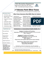 Silver Foxes Newsletter - September 2012 from the Takoma Park Recreation Department