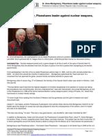 Sr. Anne Montgomery Plowshares Leader  Dies - 2012-08-29