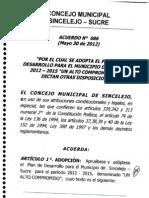 Plan de Desarrollo Municipal Acuerdo 086 - Sincelejo