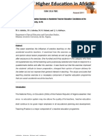 """Influence of Teaching Practice Exercise on Accidental Teacher Education Candidates at the Obafemi Awolowo University, Ile-Ife"" by M A Adeleke,  B A Adesina, M. O. Salami, and  J. A Adebayo"