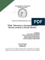 Diferencias entre las Normas Morales y las Normas Jurídicas