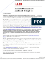Citizens United Leader to Obama on New Constitutional Amendment