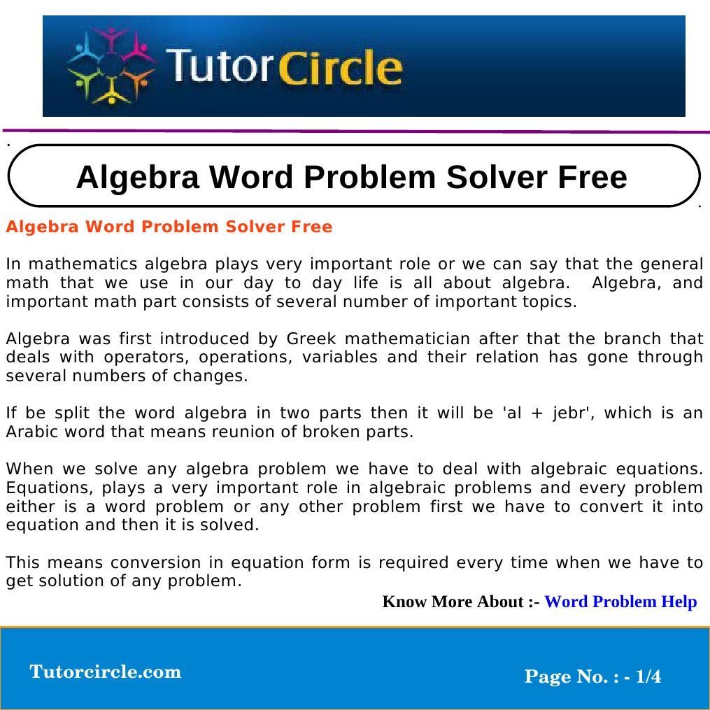 Algebra Word Problem Solver Free | Equations | Variable (Mathematics)