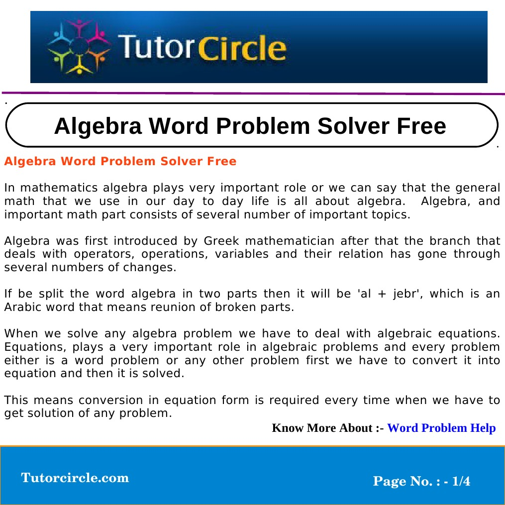 Algebra Word Problem Solver Free | Equations | Variable (Mathematics)